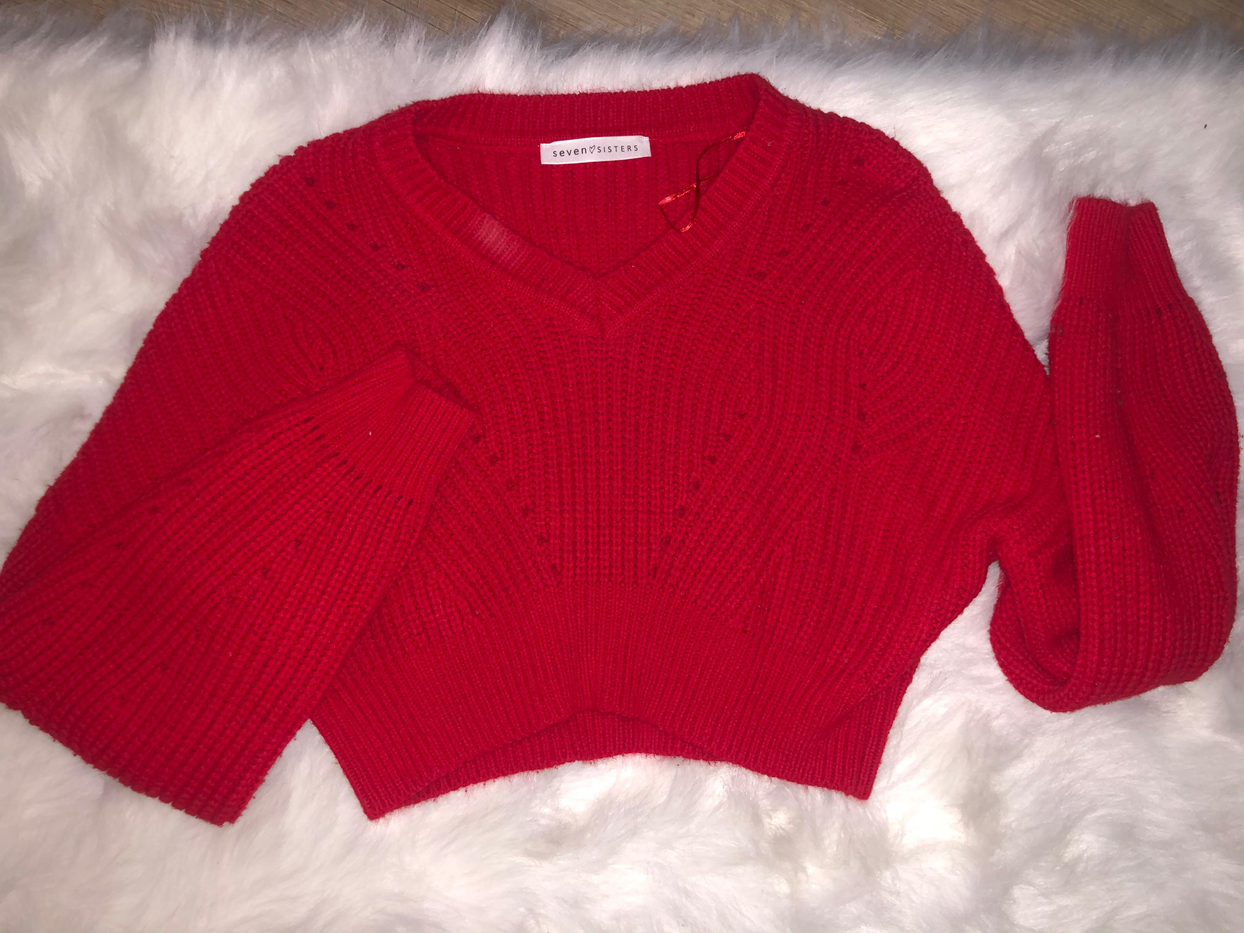 M Boutique Red Knitted Crop