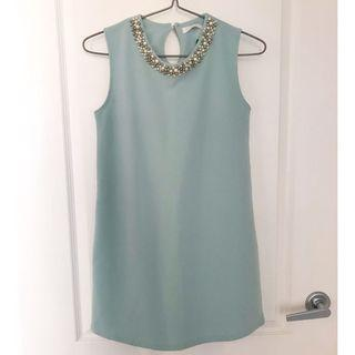 Mint color mini dress with pearl beads