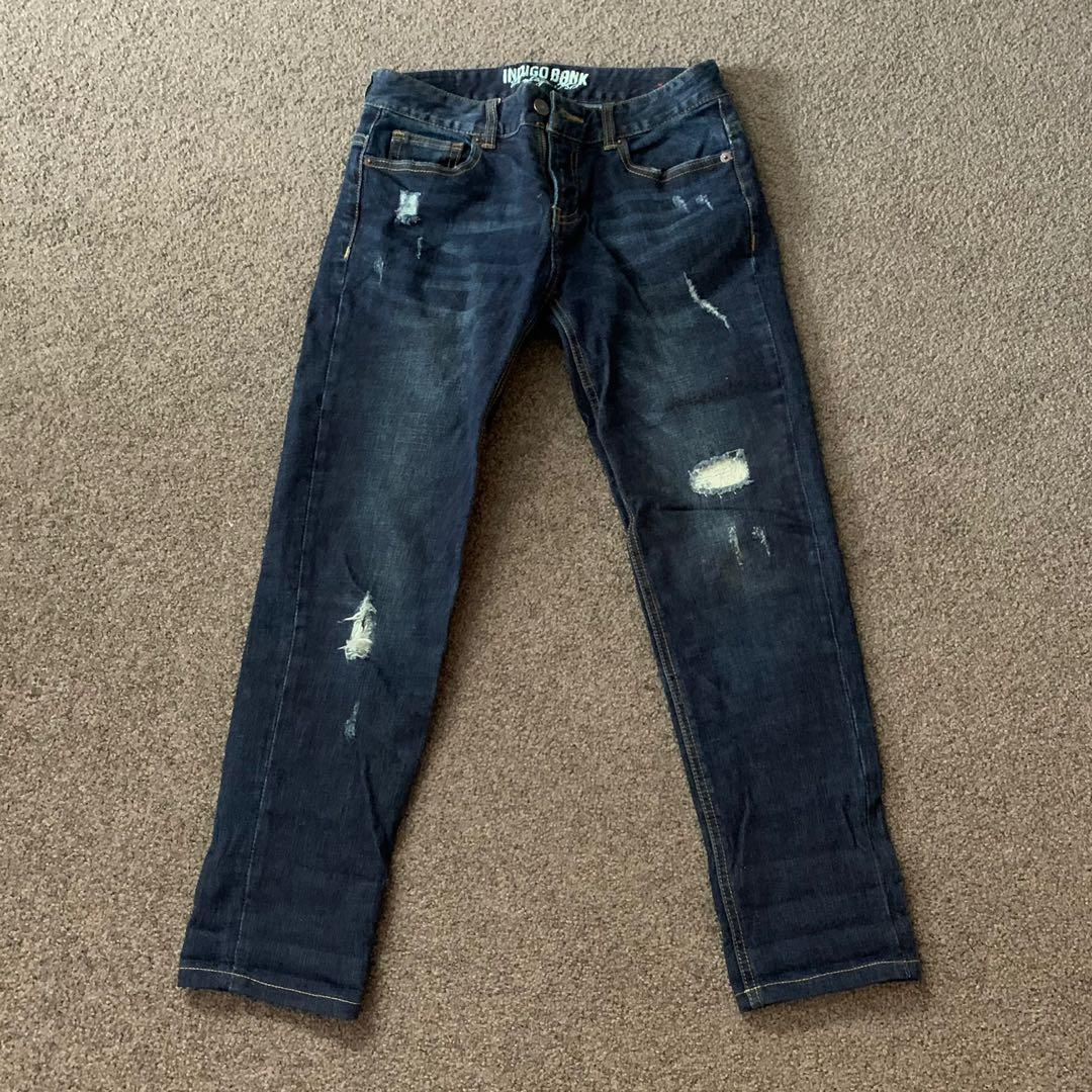 Navy Denim Washed Ripped Jeans
