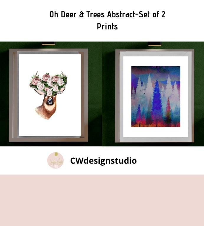 Oh Deer & Trees Abstract, Set of 2 Prints, Printable Digital File, Wall Art Print and Decor