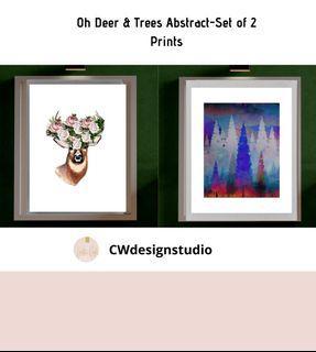 Oh Deer & Trees Abstract, Set of 2 Prints, Printable Digital File, Wall Art Print and Decor