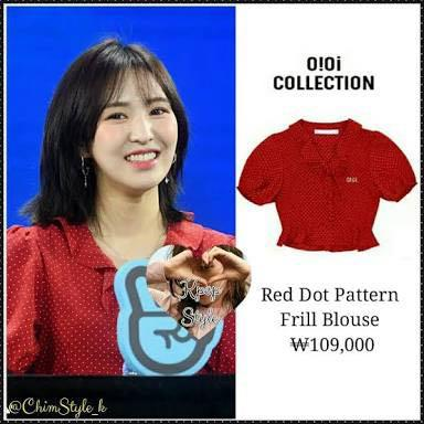 O!Oi COLLECTION Red Dot Pattern Frill Blouse *Wendy of Red Velvet wore!!*