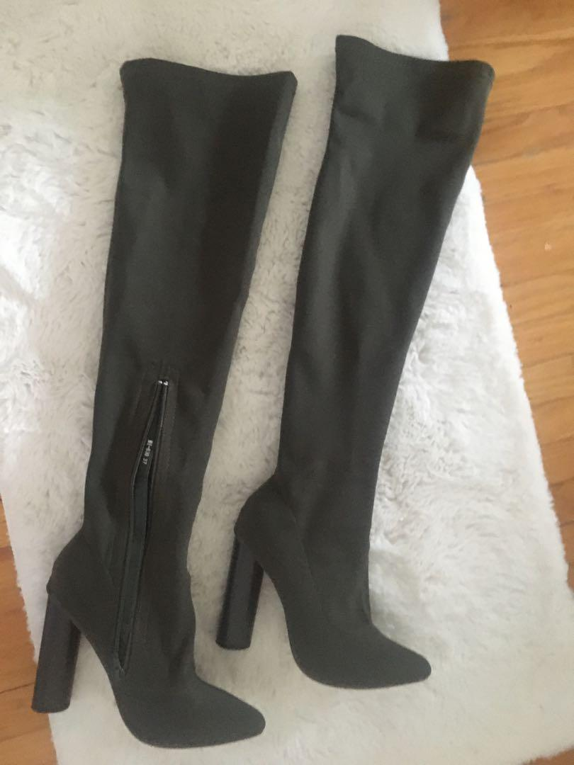 Over-the-knee khaki boots size 6.5