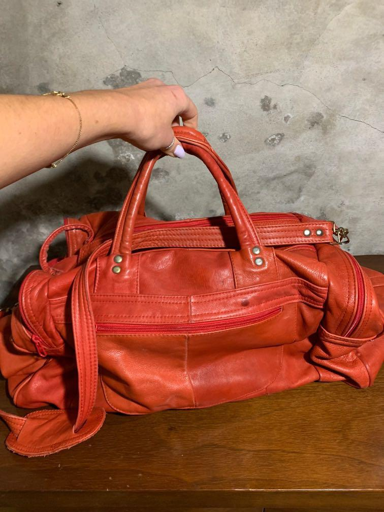 Red Leather duffle bag