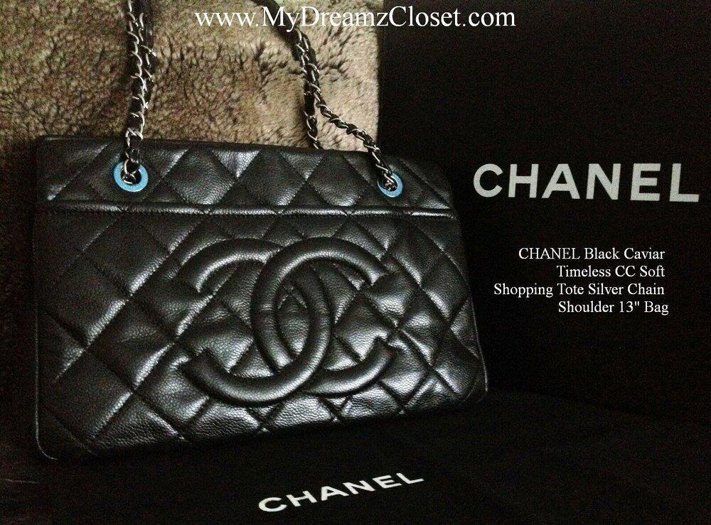 14. CHANEL Black Caviar Timeless CC Soft Shopping Tote Silver Chain Shoulder 13 Bag