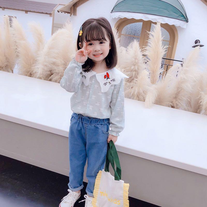 2020秋季新款韓版女童套裝印貓咪可愛長袖牛仔褲