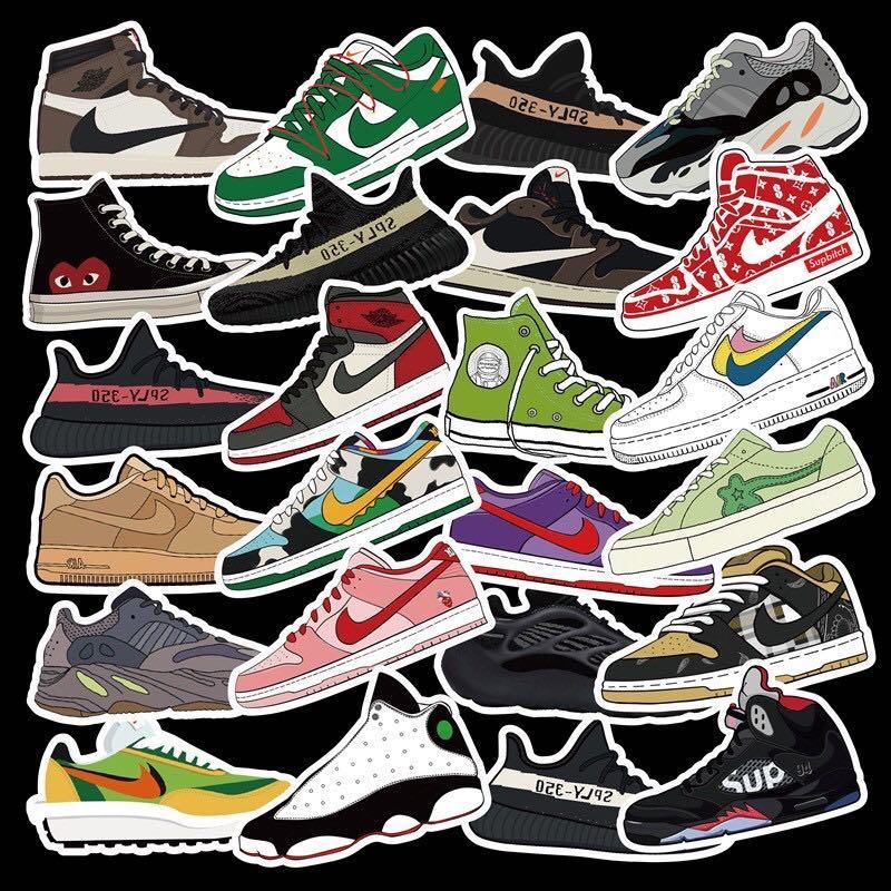 潮牌鞋貼紙 100張 不重複款式 防水貼紙 潮牌貼紙