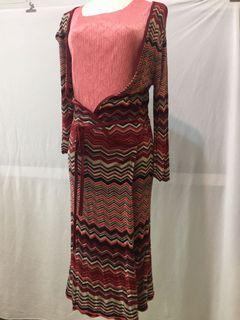 幾何條紋針織長外套(可當洋裝)#大促销