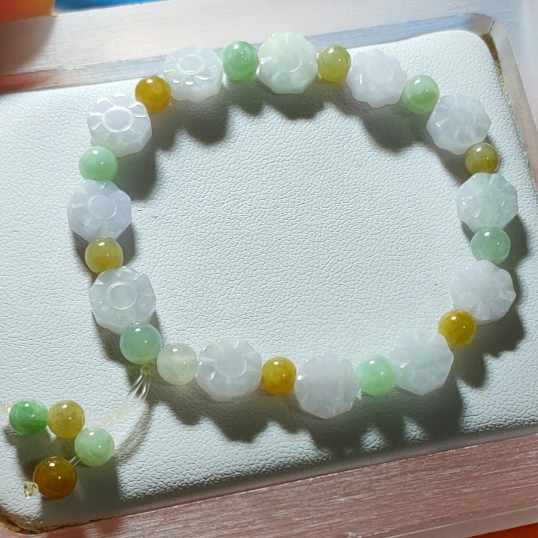 天然緬甸玉a貨💎冰紫太陽花手串