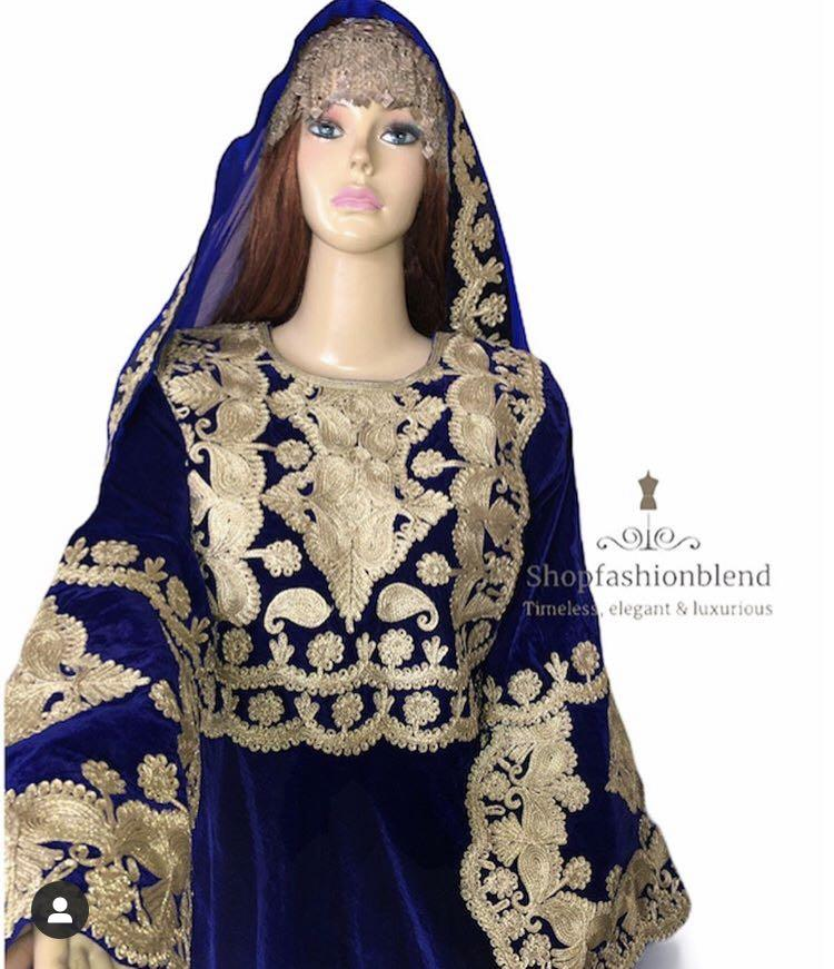 Afghan blue and gold dress