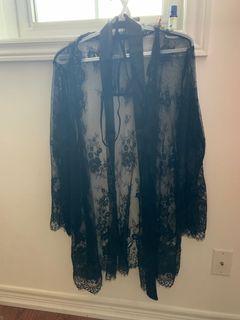BNWT Black Lace Cardigan w/ G-String & Belt