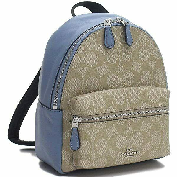 BraCoach signature mini charlie backpack: pool blue and light khaki (Model F58315)