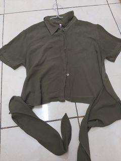 Colorbox tie knot crop shirt