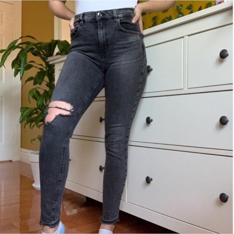faded black wash high rise skinny jeans