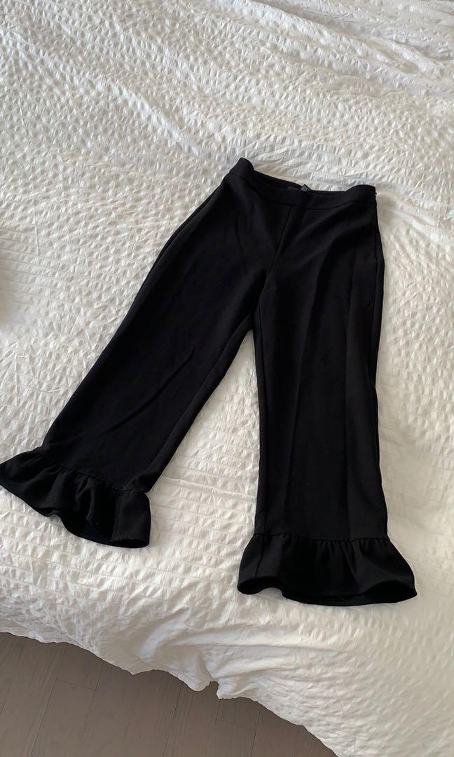 Flared cropped dress pants