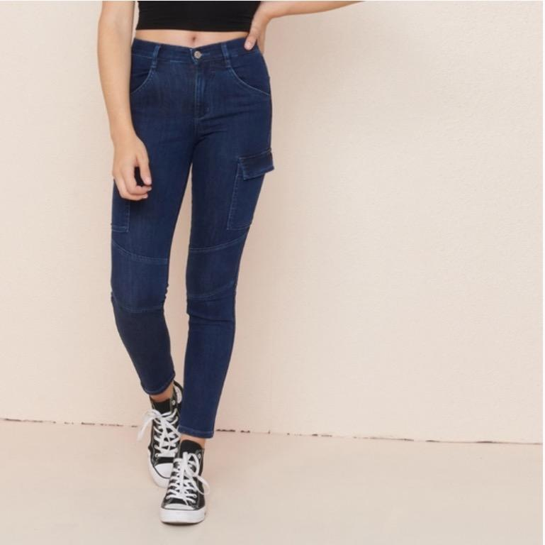 high rise dark blue wash skinny jeans