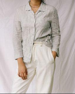 Ines De La Fressange x Uniqlo Pinstriped Linen Shirt