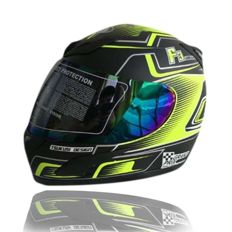 JPN Helm Motor Full Face  F3 Kuning Doff Ukuran L - XL