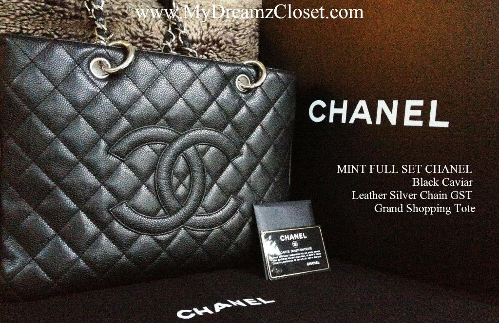 MINT FULL SET CHANEL Black Caviar Leather Silver Chain GST Grand Shopping Tote