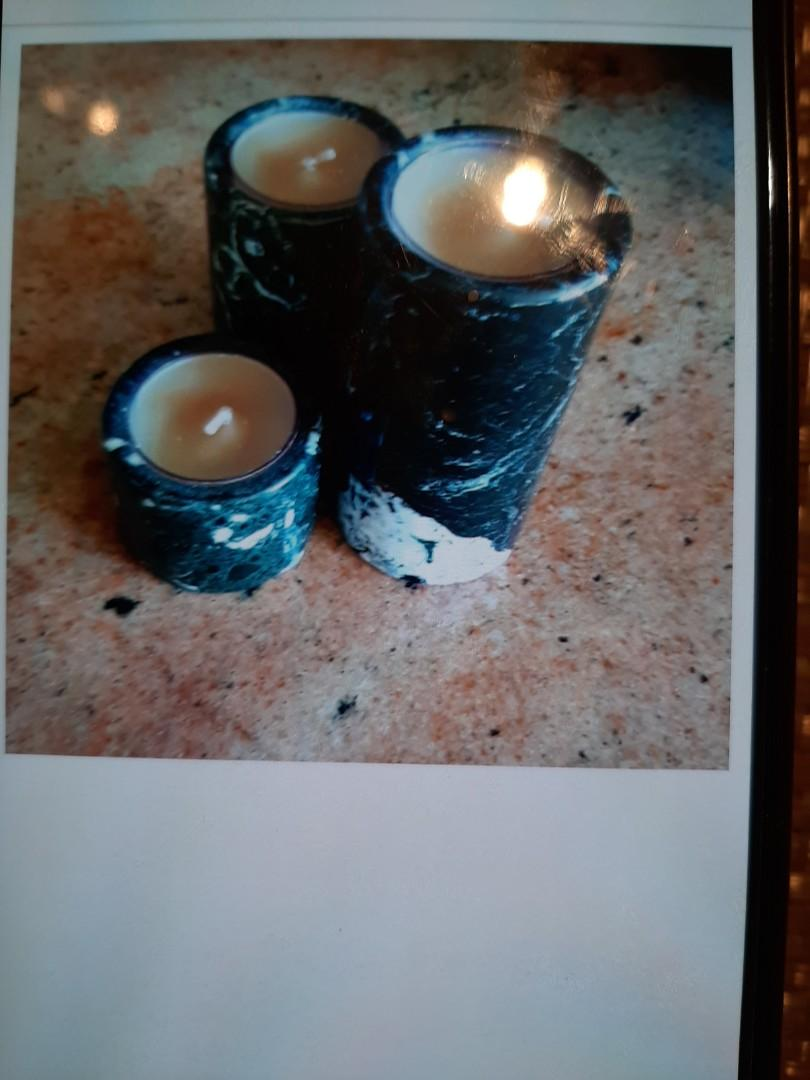 Natural soapstone trio candleholders