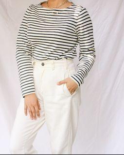 UNIQLO Women's Striped Long Sleeve Boat Neck Shirt
