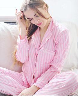 Victoria Secret Silky Pink Stripe Pyjama Set