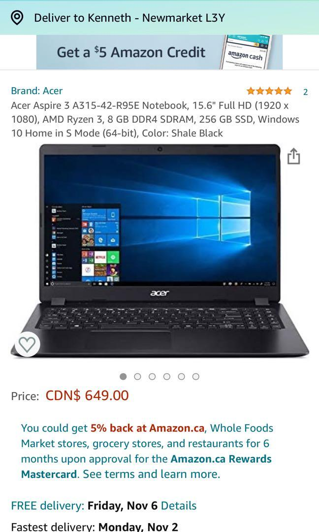 Acer aspire 3 amd 15.6 inch laptop