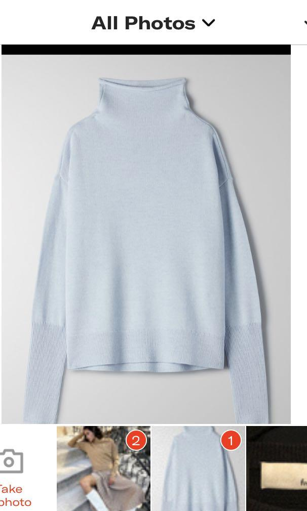 Aritzia Wilfred cyprie mock neck knit turtleneck dew blue size SMALL