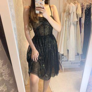 black sheer glitter dress