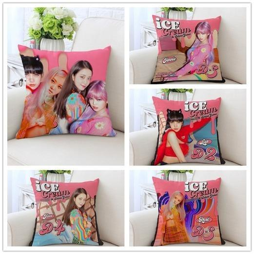 BLACKPINK Ice Cream LISA JENNIE ROSE JISOO Photo Posters Pillow Cover with Sofa Pillow Cushion That You Can Use To Slap The Antis and Blonks 😂