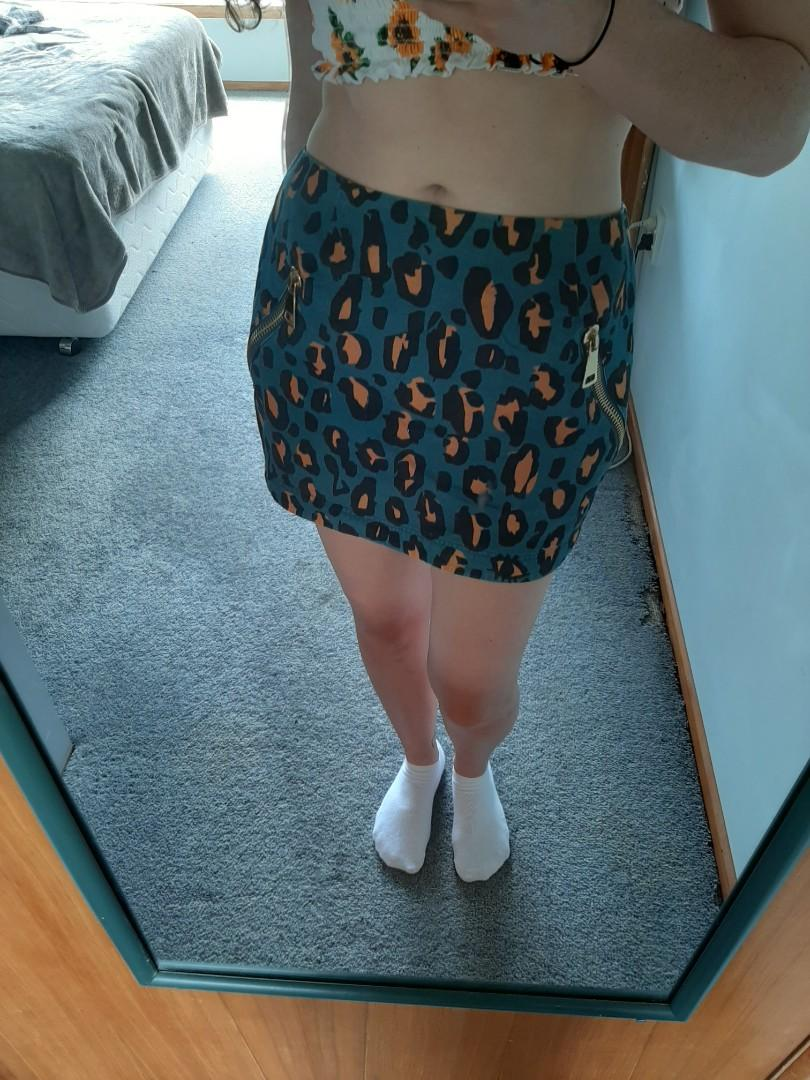 Blue Cheetah Print Skirt