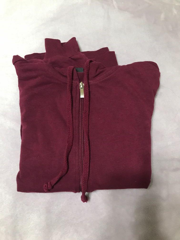 Burgundy zip up sweater