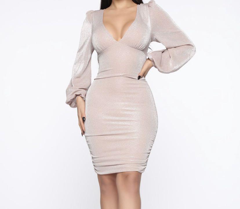 Fashion Nova - Blush Glitter Mini Dress