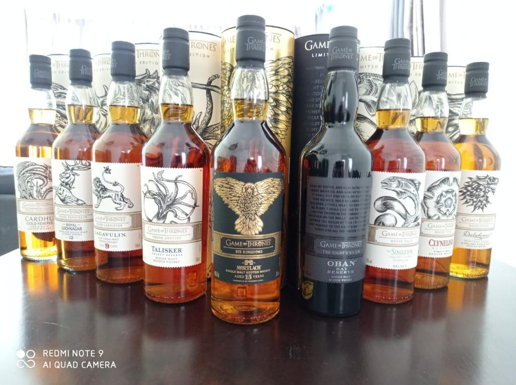 Game Of Thrones Set Of 9 Single Malt Whisky Includes Mortlach Six Kingdoms 15 Yo Food Drinks Beverages On Carousell