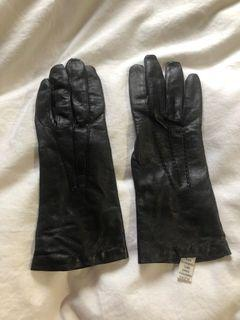 Genuine Leather Cashmere Wool Gloves