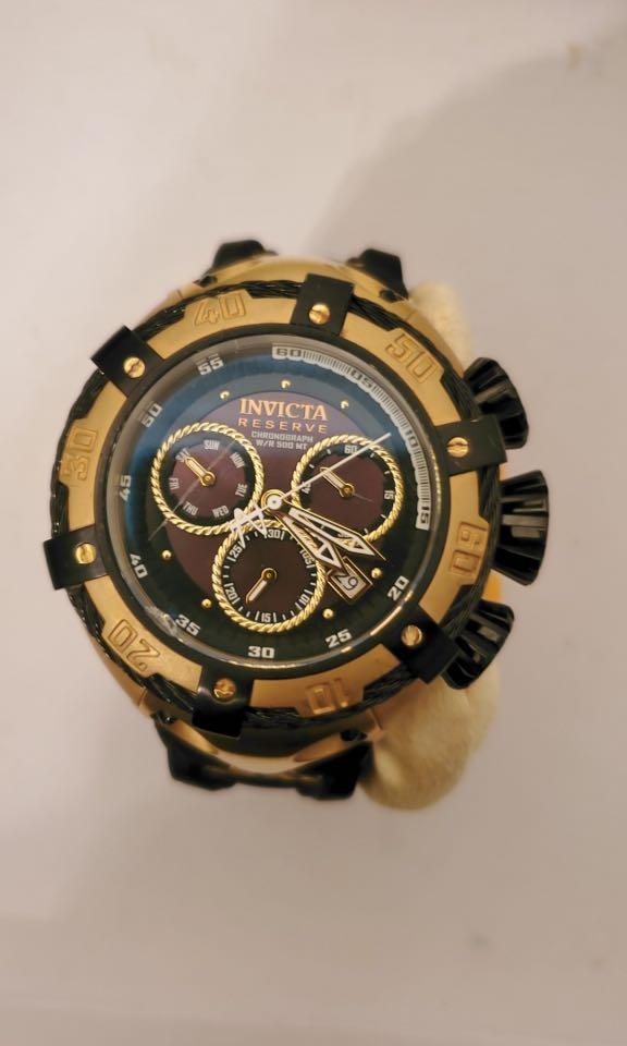 Invicta Mens Watch 21353 Thunderbolt Swiss Quartz Chronograph Gold Black Rubber