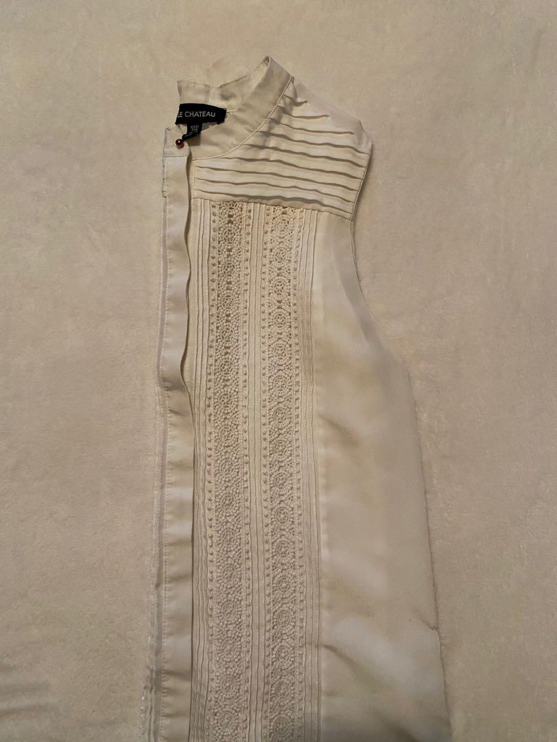 Le Chateau - White Sleeveless Button Up Blouse
