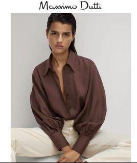 Massimo dutti 泡泡袖絲質襯衫