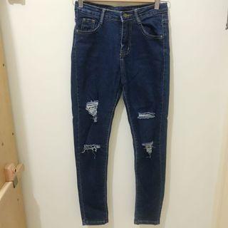 深藍色刷破合身牛仔長褲-S號
