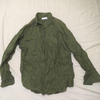 Uniqlo 亞麻襯衫 L號 橄欖綠