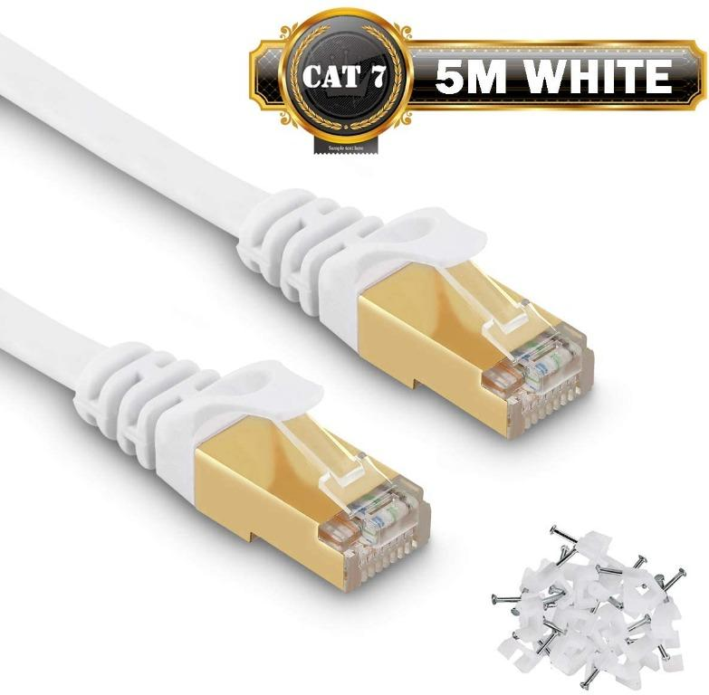 5m Cat 7 Ethernet Cable Fastest Cat7 Flat Ethernet Patch Cables 750mhz 10gb Internet Cable For Xbox Ps4 Ps3 Modem Router Lan Switch Compatible Cat5e Cat6a Cat6 Network Cable Clips Included White Electronics Others On Carousell
