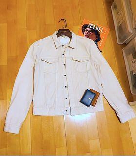 (Soldout售出🔥)88%new/ H&M x David Beckham off-white denim jacket M號/深米白單寧牛仔外套/2胸口袋