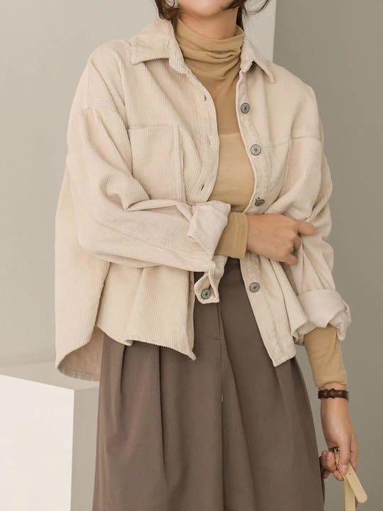 正韓(韓國空運回台) 高單 – 時尚雙口袋燈心絨素色襯衫外套(Rb-0009)