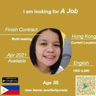 本地完約 請工人姐姐 Domestic Helper Search4maid User Name: jenniferliporada  2021 四月