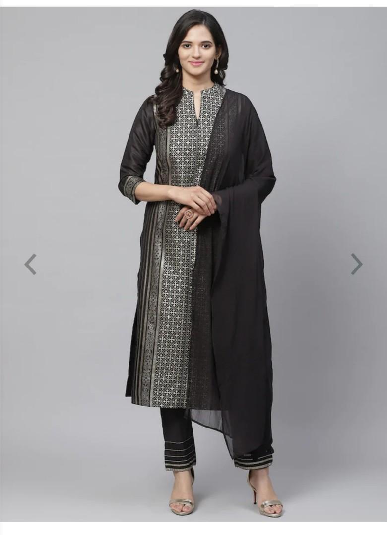 Biba Women Black & Golden Printed Kurta with Trousers & Dupatta, Product Code: 11620626