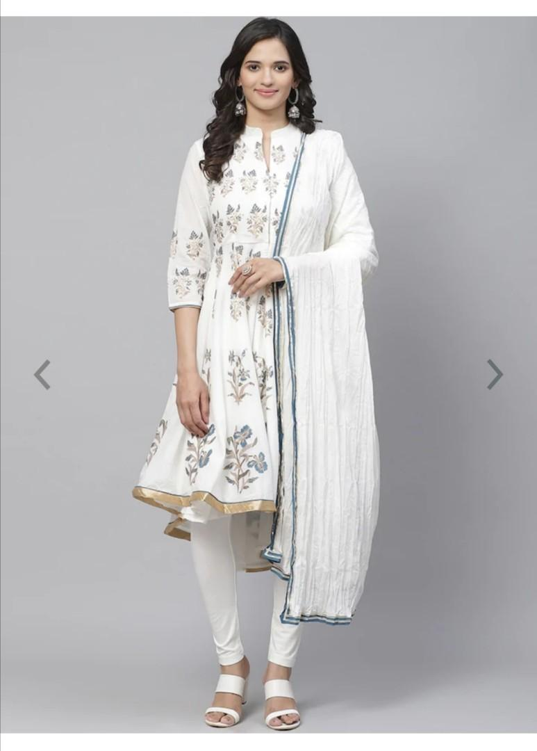 Biba Women White & Blue Printed Kurta with Churidar & Dupatta, Product Code: 12436192