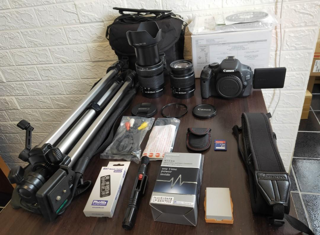 BODY+2 LENS+TRIPOD+Hood+uv filter+SD CARD+BAG+BOX+STRAP+CHARGER+BATTERY+CABLE+BOOK+ALL  ENGLISH LANGUAGE SETTINGS Camera,All Together