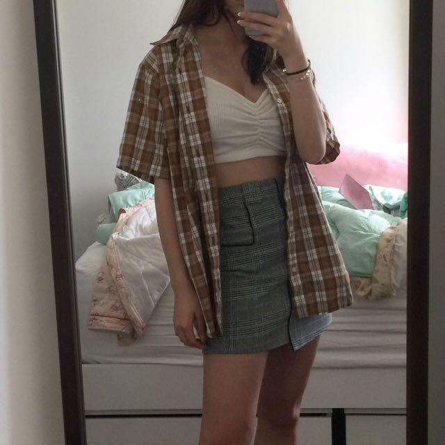 Brown oversized button up