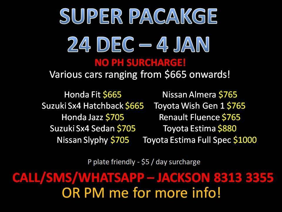 CAR RENTAL NO DEPOSIT SUPER PACKAGE 24 DEC - 4 JAN *P PLATE WELCOME* (Yishun)