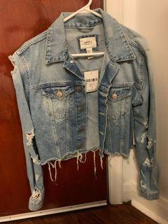 cropped distressed denim jacket brand new with tags